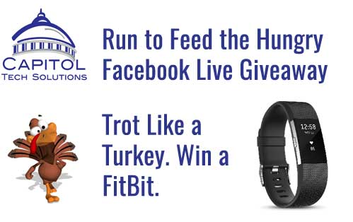 Run to Feed the Hungry Facebook Live Giveaway. Trot like a turkey. Win a FitBit.