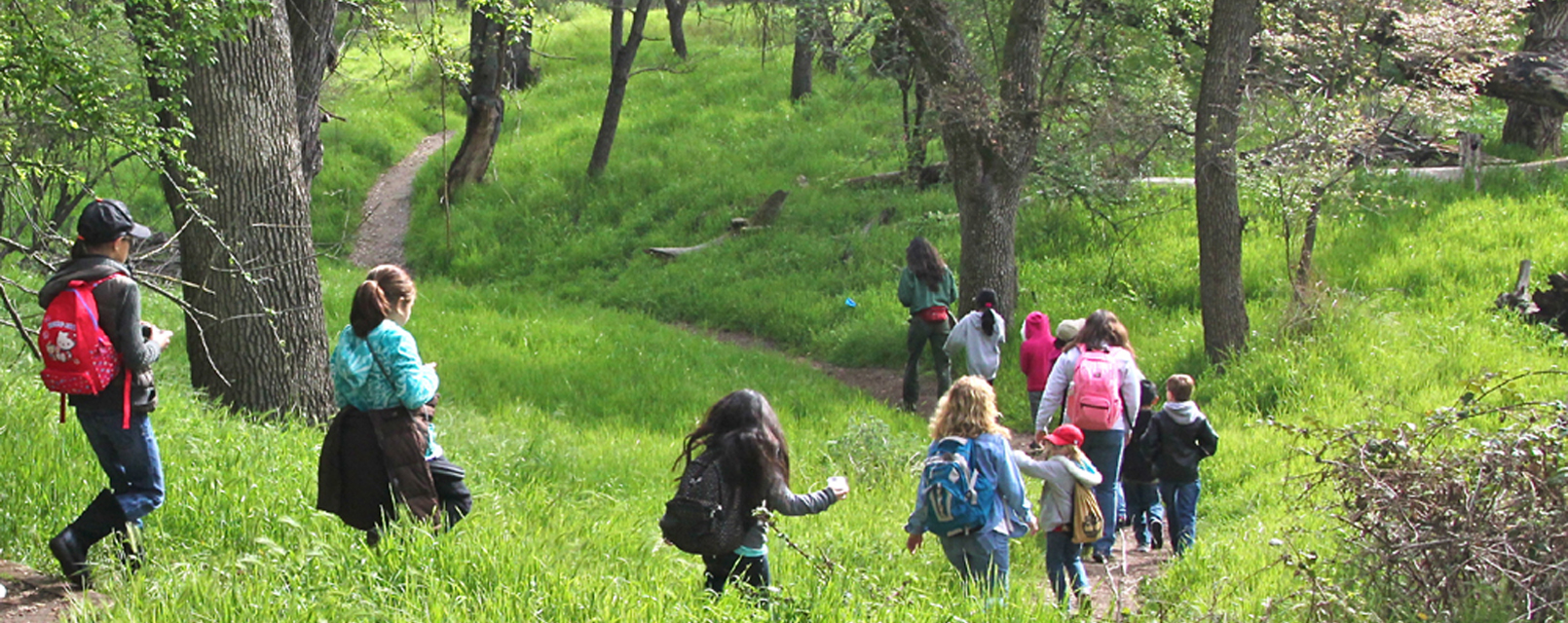 Kids follow the trail into the woodland
