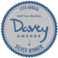 Badge for winners of the 2017 Davey Web Design Award