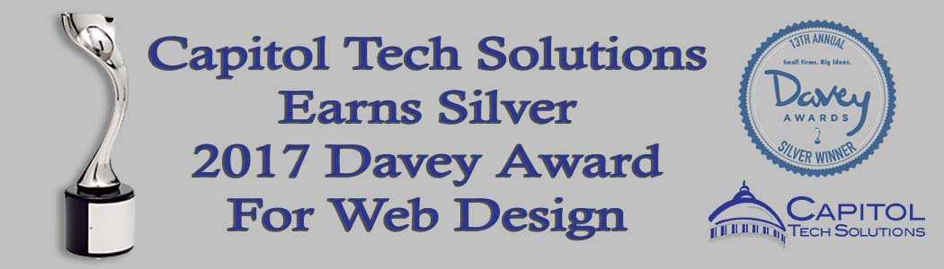 Title image announcing CTS earning 2017 Davey Award for Web Design