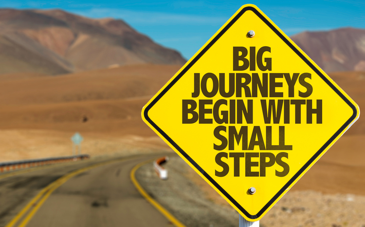 This image is a motivational quote about starting a journey with small steps