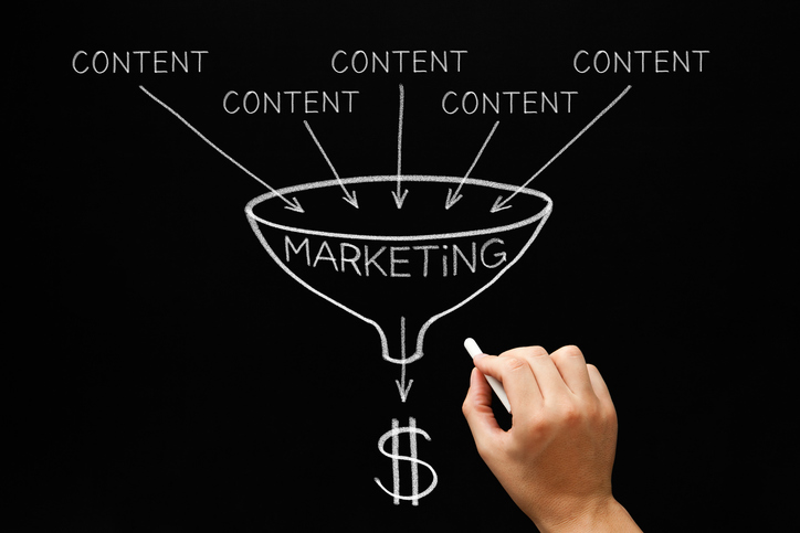This image show how content fills the marketing funnel
