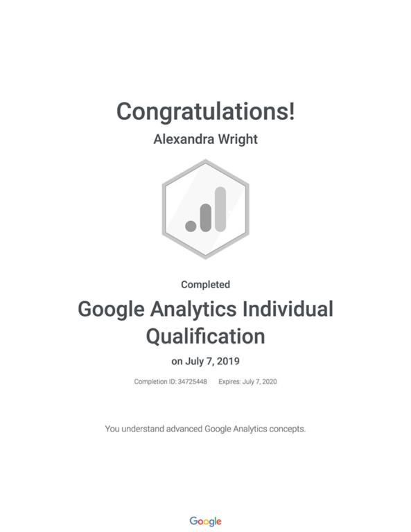 Alex Wright's certification for Google Analytics