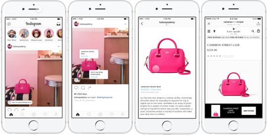 This is an image of four screen shots of the Instagram Shopping feature