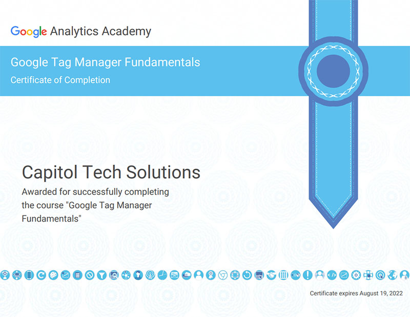 Image of Kevin Olson's Google Tag Manager certification