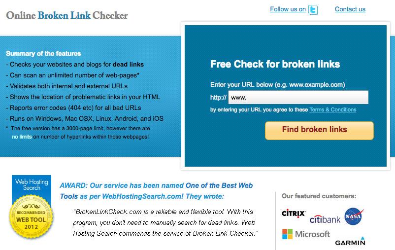 Free Online Broken Link Checking Tool