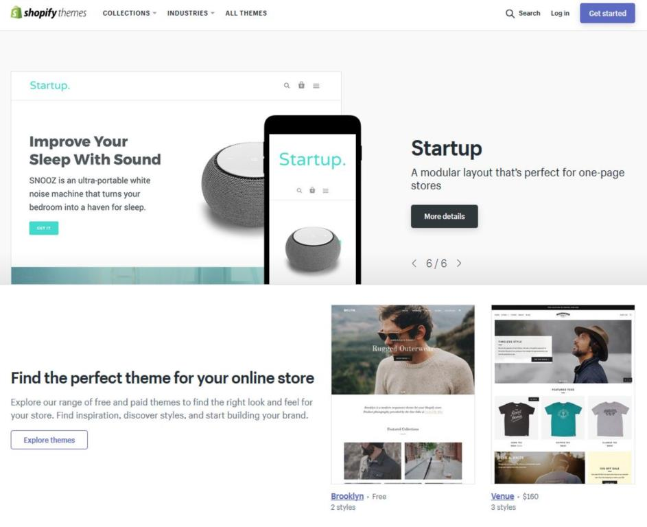 This screenshot shows the Shopify Theme Store